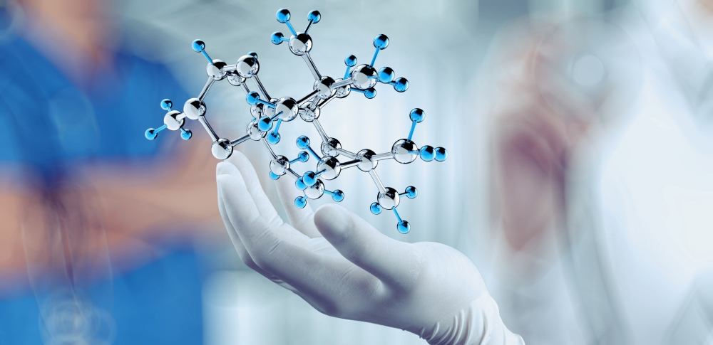 scientist doctor hand holds virtual molecular structure in the lab as concept